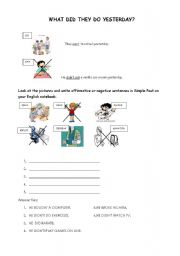 English worksheet: PAST SIMPLE: WHAT DID THEY DO YESTERDAY