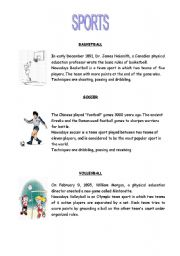 English Worksheet: SPORTS:SOCCER,BASKETBALL,VOLEYBALL