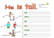 English Worksheet: Body parts and adjectives
