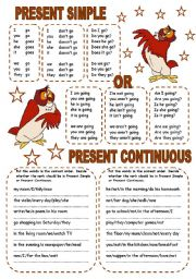 English Worksheet: PRESENT SIMPLE OR PRESENT CONTINUOUS (2 PAGES)