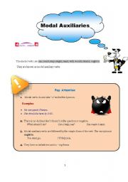 English Worksheet: Modal Auxiliaries (1)