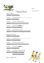 English Worksheet: Basic Shopping Dialogue
