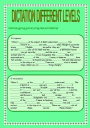 English Worksheet: Dictation different levels