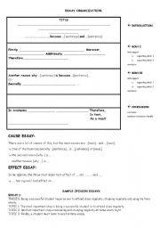 English Worksheet: cause and effect essay organization