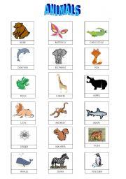 English Worksheets: ANIMAL LISTS