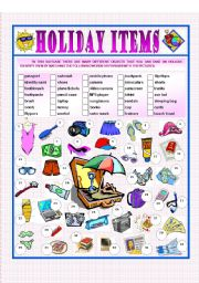 English Worksheet: Holiday Items
