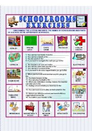 English Worksheets: Schoolrooms - Exercises