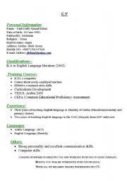 English Worksheets: C.V