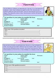 English Worksheets: Pair-work - personal information - 2 pages