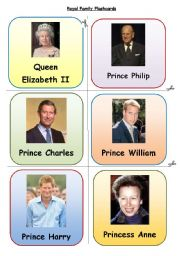 English Worksheet: Royal Family Flashcards