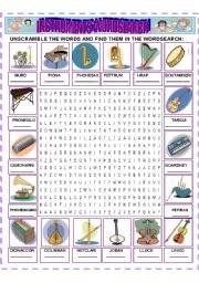 English Worksheets: INSTRUMENTS WORDSEARCH