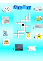 English Worksheet: CROSSWORD ABOUT WEATHER