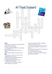english worksheet air travel crossword with key. Black Bedroom Furniture Sets. Home Design Ideas