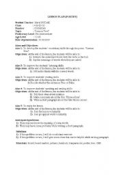English Worksheet: Lesson plan for the song