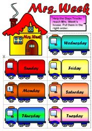 English Worksheet: Mrs. Week ( Page 2 - BW) - Days of the week