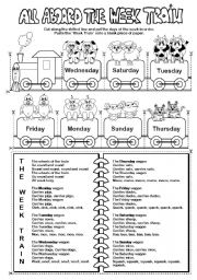 English Worksheet: All Aboard the Week Train (days of the week)