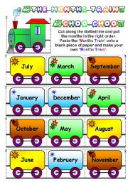 English Worksheet: The Months Train (Page 2 - BW )