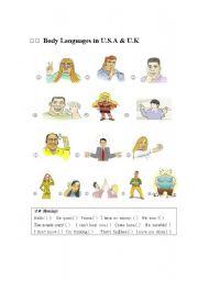 English Worksheets: Body Languages in U.S &U.K