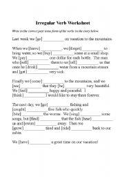Activities to practice irregular verbs