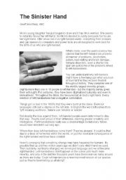 English Worksheets: The Sinister Hand