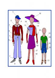 English Worksheet: clothes description matching