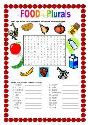 English Worksheets: FOOD - Plurals