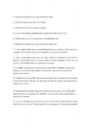 English Worksheets: short writing topics