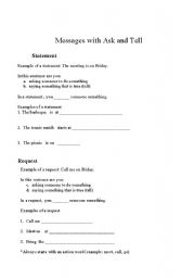 English Worksheets: Message with Ask and Tell Part 1