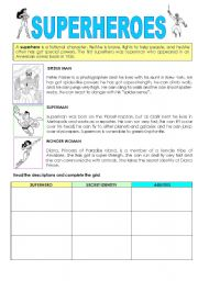 English Worksheet: SUPERHEROES ABILITIES (CAN)