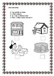 English worksheet:  I like cake