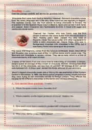 English Worksheets: Reading Comprehension: Chocolate