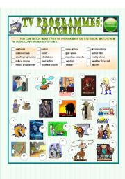 Tv Programmes Matching Esl Worksheet By Paulaesl