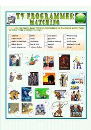 English Worksheets: TV programmes: matching