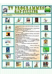English Worksheet: TV programmes: gap-filling