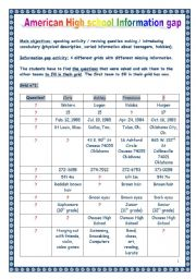 English Worksheet: Speaking lesson = American High School INFORMATION GAP activity (TEAM GAME) (6 pages, with KEY)