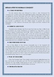English Worksheets: Britain After the Norman Conquest