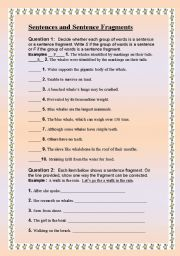 English Worksheets: Sentence and Sentence Fragments