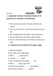 English Worksheet: possessive pronouns & one-ones