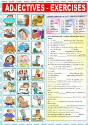 English Worksheet: ADJECTIVES - EXERCISES