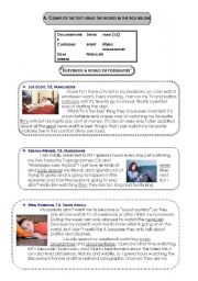 English Worksheet: Keys to my WS : Television and types of programmes: texts and exercises