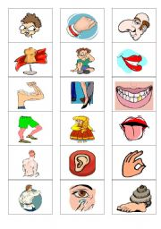 English Worksheet: MEMORY GAME, PARTS OF THE BODY