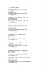 English Worksheet: wheels on the bus song
