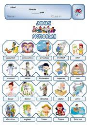 English Worksheets: Jobs - Pictionary (1/2)