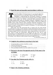 English Worksheet: THis Is The Culture Of Unemployment.