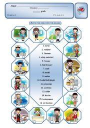 English Worksheet: Jobs - matching exercise