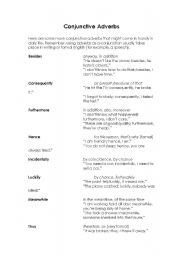 English worksheet: More Conjunctive Adverbs