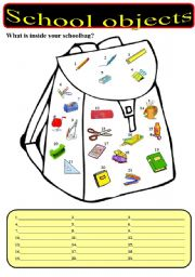 English Worksheet: What is inside your schoolbag? - School objects.