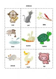 English Worksheets: Animals flashcards and matching worksheet