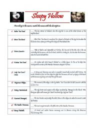 Sleepy Hollow - movie worksheet