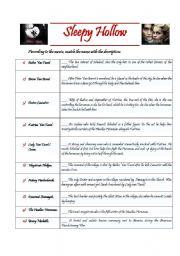 Sleepy Hollow - movie worksheet
